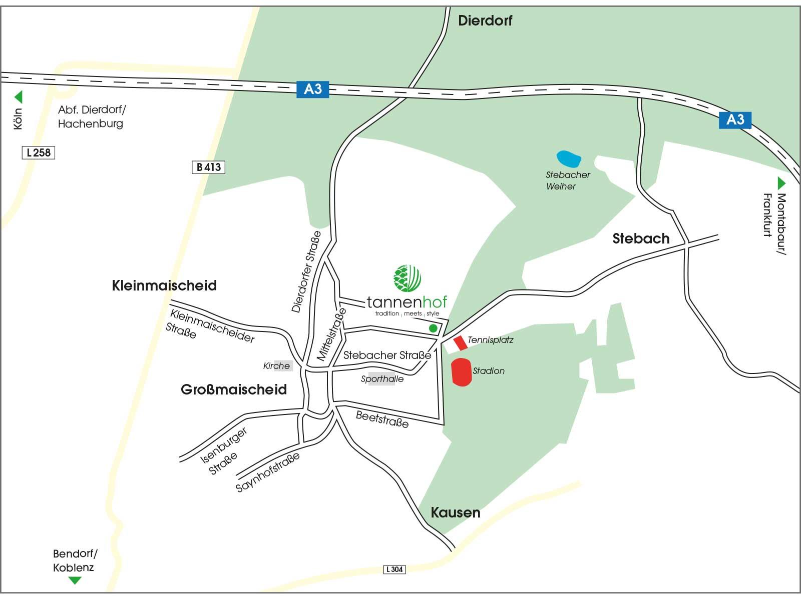 Anfahrtsskizze des Hotel und Restaurant tannenhof in 56412 Großmaischeid